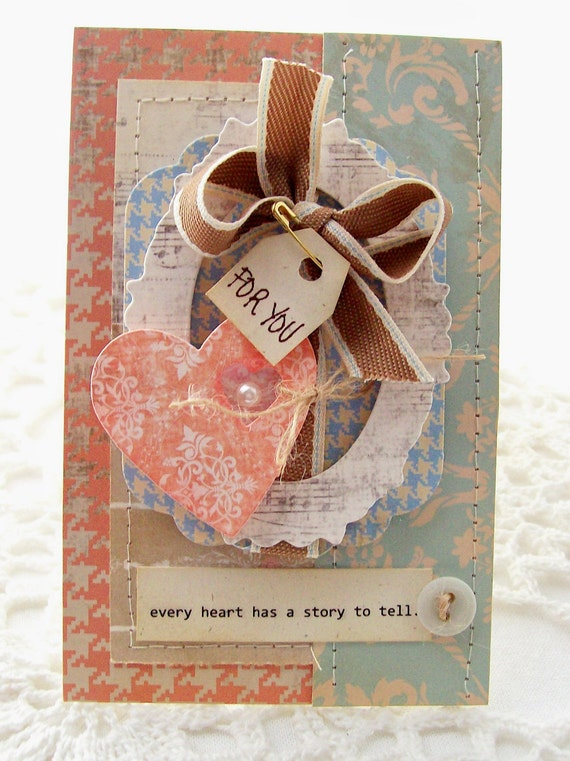 Every Heart Has A Story To Tell Vintage Inspired Greeting Card