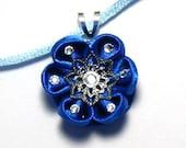 Royal Blue Sparkle Tsumami Kanzashi - Inspired Necklace