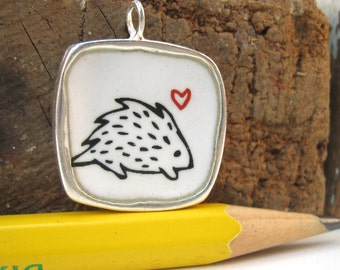 Hedgehog and Deer Necklace - Reversible - Sterling Silver and Vitreous Enamel