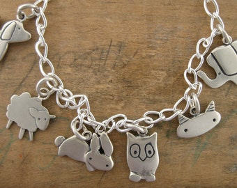 Silver Animal Charm Bracelet - Menagerie Bracelet - Silver Charm Bracelet with 6 Charms: Dog, Cat, Sheep, Bunny, Owl, Elephant