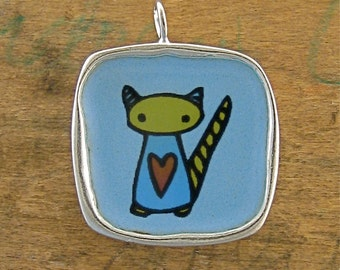 Cat Necklace - Vitreous Enamel and Sterling Silver Reversible Necklace with Two Cats