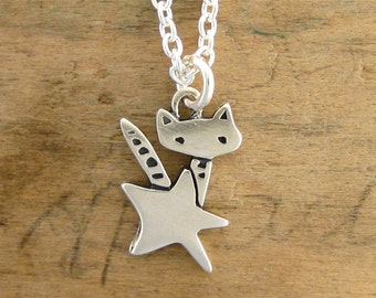 Tiny Rocket Kitty - Sterling Cat Necklace - Silver Cat Pendant - Cat and Star