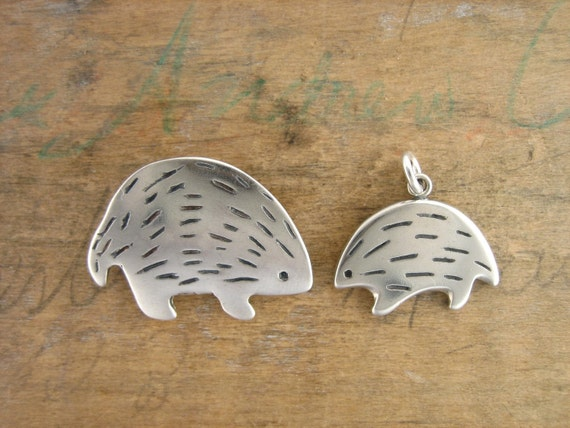 Mother and Son Hedgehog Necklace - Mother's Day Necklace Set - Sterling Silver Porcupine Pendants - Hedgehog Necklaces