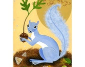 lovely squirrel original gouache painting