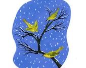yellow warblers original gouache painting