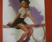 Western Cow Girl Pin up Glamour girl tote bag