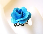 Blue Blossom - Enamel Rose Adjustable Ring - CLEARANCE