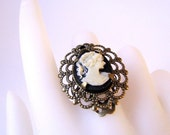 Simple Cameo - Victorian Style Antiqued Brass Cameo Adjustable Ring - CLEARANCE