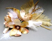 Velvet Magnolia v.2 - Flower and Feather Headpiece for the Bride / Special Occasion in Cream and Gold - CLEARANCE