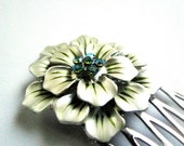 Subtle Green - Enamel Moss Green and Swarovski Crystal Rhinestone Special Occasion / Bridal Hair Comb