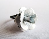 Winter White - Adjustable Cocktail Ring - White Rose - CLEARANCE