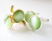 Granny Smith Apple  - Gold or Silver Plated Cufflinks For the Groom or Groomsman with Spring Green Catseye Glass Embellishment