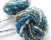 Aqua Glitter - Vintage Beaded Cluster Hair Pin Set - CLEARANCE