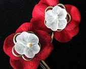 Velvet Petals - Silken Red Hair Clips CLEARANCE