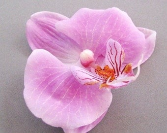 Soft Orchid - Soft Purple Fabric Orchid Hair Pin, Bridal Hair Accessory in Lavendar, Customize finish as clip, barrette, comb