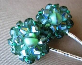 Mossy Glamour -Vintage Green Beaded Jewel Hair Pin Set