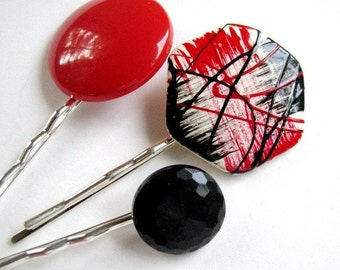 Black and Red Graffiti - Retro Bobby Pin Set - CLEARANCE