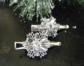 Shining Swarovski Snow Flake Hair Clips in Clear Crystal
