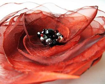 Garnet Ruffles  - Organza Flower with Czech Glass and Swarovski Crystal Center, Boho Headpiece, Custom Finish Options