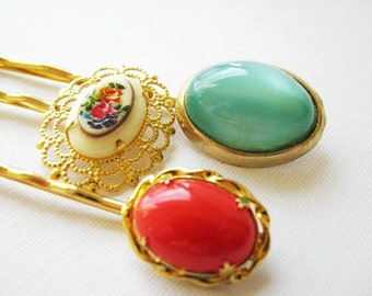 Cheerful Outlook  - Vintage Bauble Hair Pin Set in shades of orange and aqua, with floral accent
