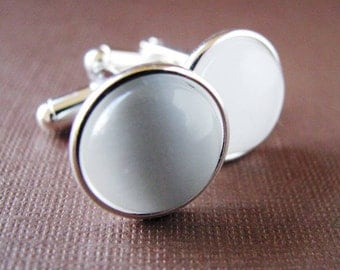Misty  - Silver Plated Cufflinks For the Groom or Groomsman/ Prom with White Catseye Glass