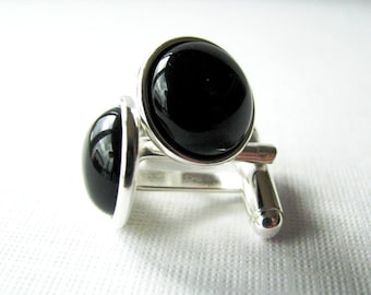 Black Onyx Cufflinks for the Groom or Special Occasion, Silver Plated