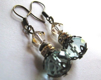 Mist over Venice - Romantic Drop Earrings with Aquamarine Crystal in Antiqued Gold, With Swarovski Accents
