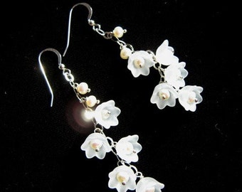 Sweet Honesty - Lily of the Valley Pearl Cascade Earrings, Bridal, Prom, Special Occasion, Sterling Silver