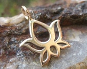 Lotus Flower Bud Charm Gold Tone - Bronze
