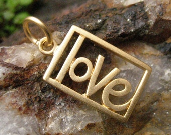 Gold Love Necklace Charm - Love Word Charm
