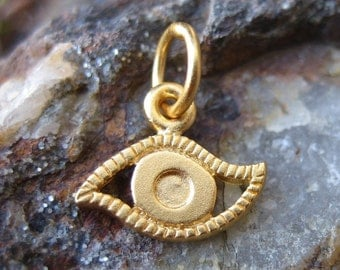 Gold Evil Eye Charm - Vermeil - Small Third Eye Necklace