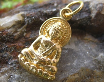 Gold Buddha Necklace Charm - 24K Gold over Bronze