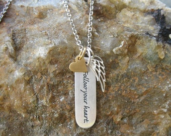 Follow Your Heart Inspirational Necklace - Graduation