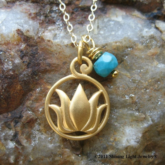 Gold Lotus and Turquoise Yoga Necklace