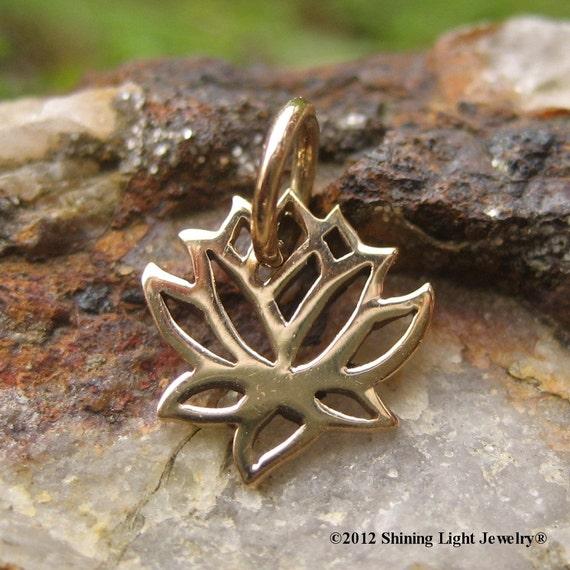 Tiny Lotus Charm - Gold Tone - Bronze VERY SMALL