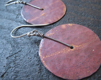 Medium Copper Disk Earrings