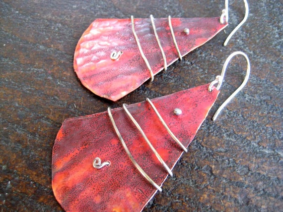 Silver Wrapped Copper Wedge Earrings