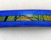 Kirk's Glass Art Fused Glass Dichroic Barrette in Cobalt and Patterns