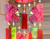 Kirks Glass Art Fused Stained Glass Wind Chime windchime - Red Poppy