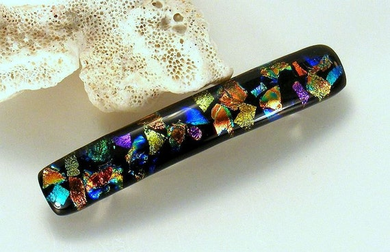 Kirks Glass Art Fused Dichroic Barrette - Party Time