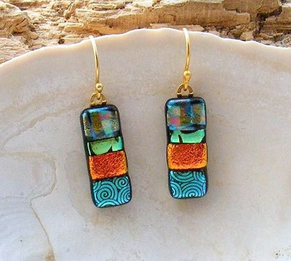 Kirk's Glass Art  Multi-Colored Fused Glass Dichroic Earrings