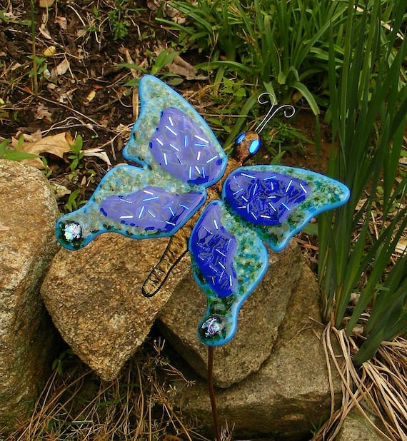 Kirks Glass Art Fused Glass Blue Dichroic Butterfly Garden Stake