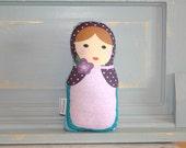 PETUNIAS' Matryoshka Babushka Doll Pillow plush softie baby girl gift photo prop stuffed pink brunette brown hair