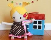Cloth Rag Doll baby toy  fabric soft dress diaper cute sweet stuffed modern baby shower gift newborn gift ready to ship