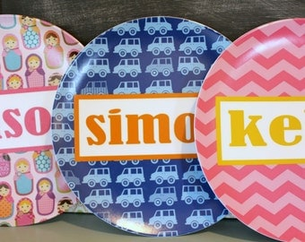 Personalized Melamine Plate by PETUNIAS fox owl matryoshka babushka doll chevron name pink gray gold blue brown red black bold stylish gift