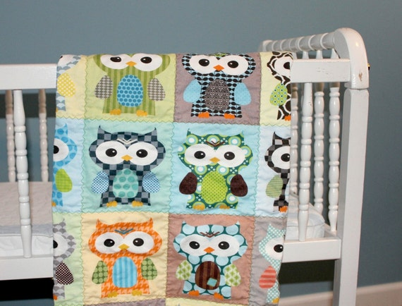 SALE Blue Hoot Hoot QUILT by PETUNIAS - baby blanket owl blue green brown vintage modern photo prop newborn shower gift