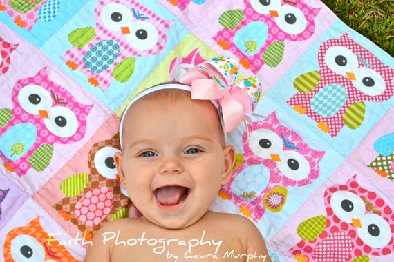 Pink Hoot Hoot Owl QUILT by PETUNIAS - baby blanket pink purple green brown vintage modern photo prop newborn shower gift