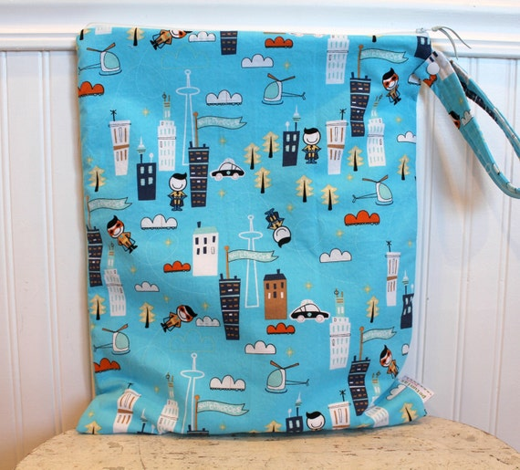 The ICKY Bag XL - WETBAG - snap handle wet bag waterproof lined zipper cloth diaper baby gear toddler newborn gift fabric procare blue hero