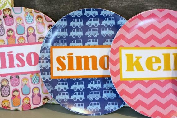 Personalized Melamine Plate by PETUNIAS fox owl matryoshka babushka doll chevron name pink gray gold blue brown red black bold stylish gift