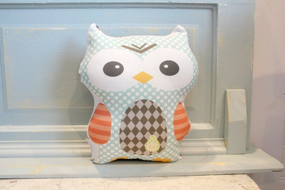 PETUNIAS' Owl Pillow doll stuffed stuffy stuffie toy toddler baby kid child plush softie gift photo prop ready to ship